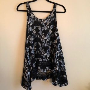 Free People Lace Top with Floral Print